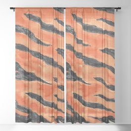 Tiger Stripes (Orange/Black) Sheer Curtain