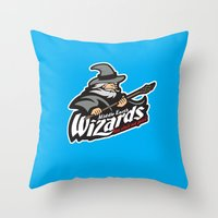 middle earth Throw Pillows featuring Middle Earth Wizards by Buby87