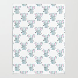 Elephant Watercolor Pattern Poster