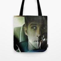 ryan gosling Tote Bags featuring Ryan Gosling - Drive by Helena McGill