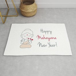 Happy mahayana new year- cute buddha blowing kissed with greeting Rug