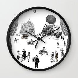 city view from window in 1898 vintage Victorian Wall Clock