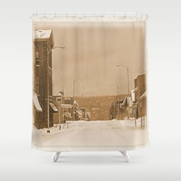 Old Main Street in the Snow Shower Curtain