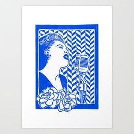 Lady Day (Billie Holiday block print) Art Print