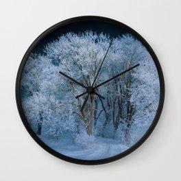 New England Winter Landscape Wall Clock