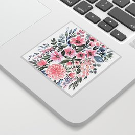 "Loose watercolor floral bouquet, ""Clara"" Sticker"