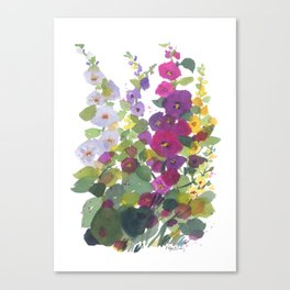 Purple Hollyhock Garden Canvas Print