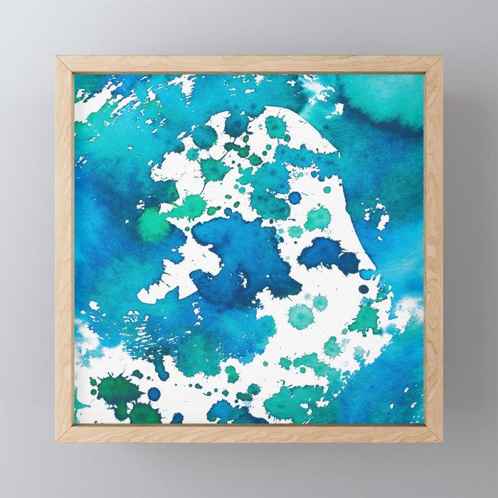 Watercolour Splash Blue Framed Mini Art Print