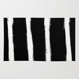 Medium Brush Strokes Vertical Off White on Black Rug