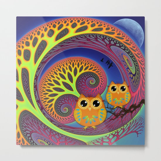 Owls in a magical tree Metal Print