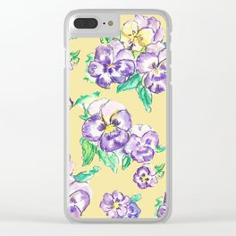 Pansy Pattern Clear iPhone Case