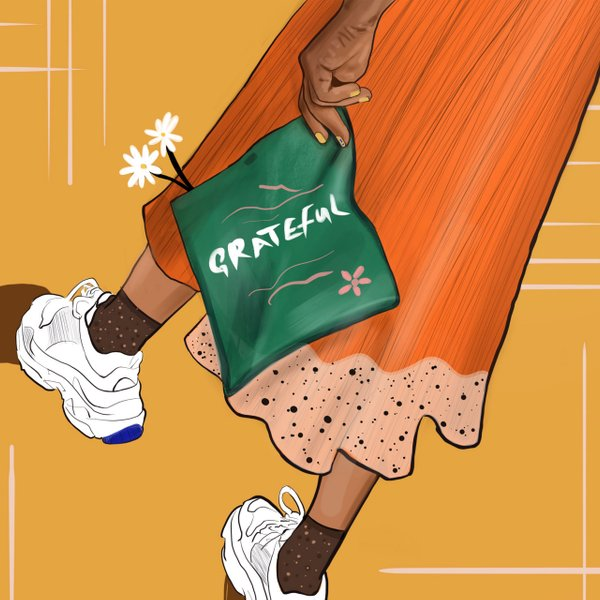 "illustration of a Black woman holding flowers and a green bag that says ""grateful"""