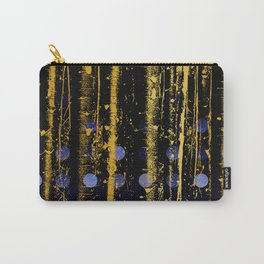 364 3 Abstract Gold Streaked Midnight Polka Dots Carry-All Pouch
