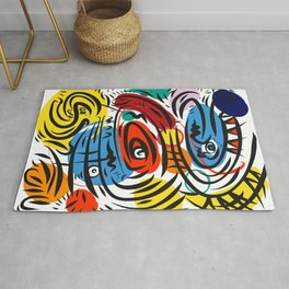 Joyful Life Abstract Art Illustration for Kids and Everyone Rug