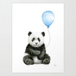 Panda Baby Animal with Blue Balloon Art Print