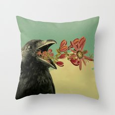 Lonely Crow Throw Pillow