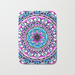 Mandala #2 Wall Tapestry Throw Pillow Duvet Cover Bright Vivid Blue Turquoise Pink Contempora Modern Bath Mat