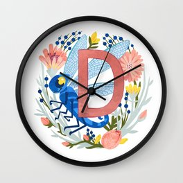 D is for Dragonfly Wall Clock