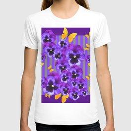 DECORATIVE GOLDEN YELLOW BUTTERFLIES PURPLE PANSY PILLOW ART T-shirt