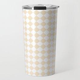 Small Diamonds - White and Champagne Orange Travel Mug