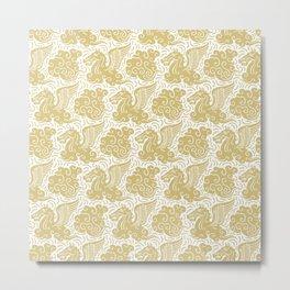Pegasus Pattern Gold Metal Print