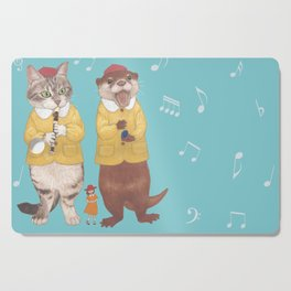 A GIRL WITH CAT and OTTER wide Cutting Board