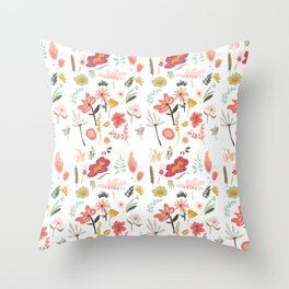 Hand painted pastel pink coral green floral illustration Throw Pillow