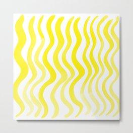 Wavy lines - lemon yellow Metal Print