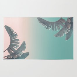 Tropical Palm Leaves In Pastel Light Rug