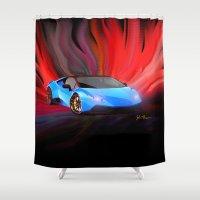 lamborghini Shower Curtains featuring Lamborghini Huracán by JT Digital Art