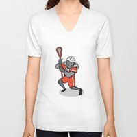 lacrosse V-neck T-shirts featuring Gorilla Lacrosse Player Cartoon by patrimonio