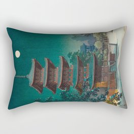 Tsuchiya Kôitsu Japanese Woodblock Vintage Print Garden At Night Moonlit Pagoda Tower Turquoise Sky Rectangular Pillow