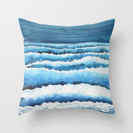 Watercolour waves crashing on the shore Throw Pillow