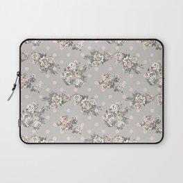 Vintage chic artistic pink ivory polka dots floral Laptop Sleeve