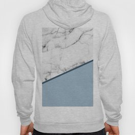 Real White Marble Half Ocean Grey Steel Blue Hoody