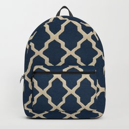 V3 Dark Blue Traditional Moroccan Pattern Texture. Backpack