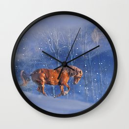 Christmas Horse in the Snow, Running Winter Horses Scene Wall Clock