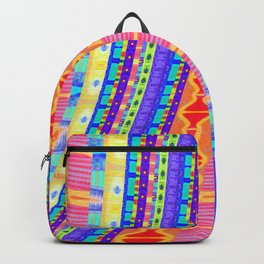 River of Friendship Modern African Textile Stripes Print Backpack