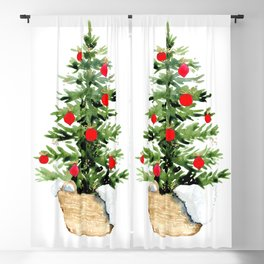 Watercolor Christmas tree in a basket Blackout Curtain