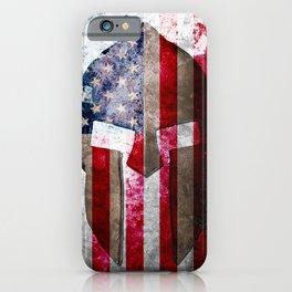 Molon Labe - Spartan Helmet Across An American Flag On Distressed Metal Sheet iPhone Case