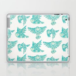 Owls in Flight – Turquoise Palette Laptop & iPad Skin