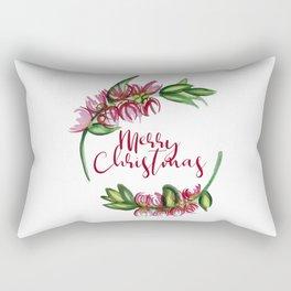 Merry Christmas - An Australian Native Floral Wreath Rectangular Pillow