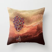 pixar Throw Pillows featuring Pixar Up! in the Clouds by foreverwars