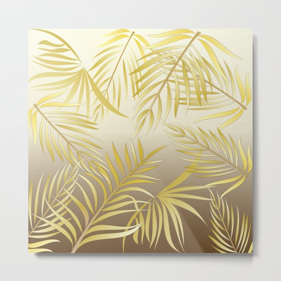 Golden palm leaves Metal Print