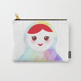Russian doll matryoshka with bright rhombus on white background, rainbow pastel colors Carry-All Pouch