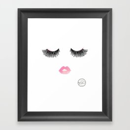 Watercolor lips and lashes print Framed Art Print