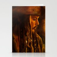 jack sparrow Stationery Cards featuring Captain Jack Sparrow by Rosita Maria
