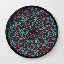 Seamless curly pattern on leaves theme brown Wall Clock