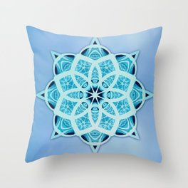 Blue starry snowflake with tribal patterns Throw Pillow