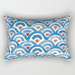 Japanese seigaiha ocean wave watercolor illustration pattern Rectangular Pillow